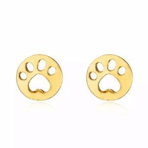Gold Paw Print Stud Earrings